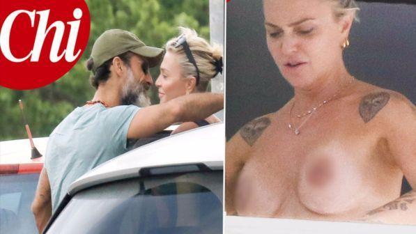 Paola Barale, topless esplosivo in compagnia del suo Raz