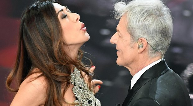 Italian singer and Sanremo Festival artistic director Claudio Baglioni (R) with Italian actress Virginia Raffaele (R) on stage during the 68th Sanremo Italian Song Festival at the Ariston theatre in Sanremo, Italy, 08 February 2018. The 68th edition of the television song contest runs from 06 to 10 February. ANSA/CLAUDIO ONORATI